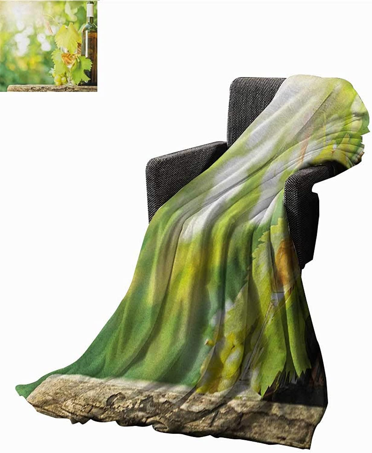 WilliamsDecor Bed or Couch 60  x 35 Wine Lightweight Blanket White Wine Bottle Glass Young Vine and Bunch of Grapes in Green Spring Print Summer Quilt Comforter Pale Green Yellow Brown