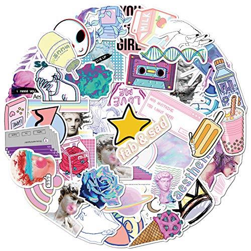 WYDML Bonita Pegatina de Estilo de Onda de Vapor psicodélica VSCO Girl Literary Laptop Graffiti Sticker 50 Piezas