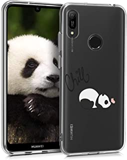 kwmobile TPU Silicone Case for Huawei Y6 (2019) - Crystal Clear Smartphone Back Case Protective Cover - Chill Panda Black/White/Transparent