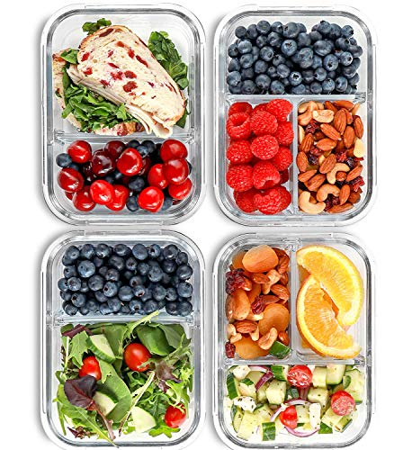 Boîte à repas avec 2 & 3 Compartiments en verre [4 Packs, 950 ML] - Contenants de stockage des aliments avec couvercles sans BPA, boîte bento, Gamelle, contrôle des portions, étanche à l'air