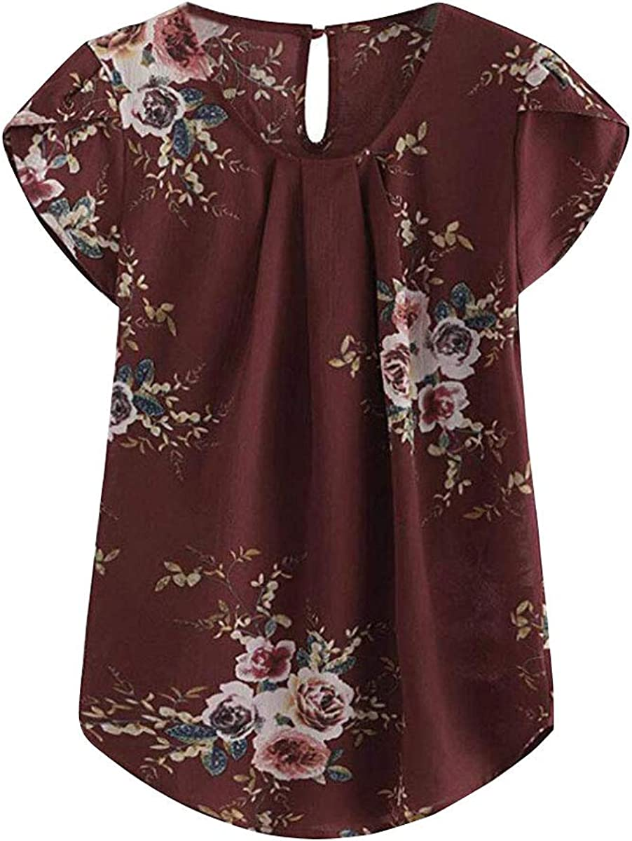 Safeeye Women's Elegant Floral Print Petal Cap Sleeve Blouse Top Pleated Vacation Office Work Tank T-Shirt