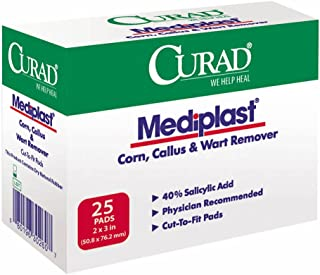 Curad Mediplast (25 Pads) Corn, Callus, & Wart Remover, 40% Salicylic Acid Pads for topical removal of corns, callus, or plantar warts