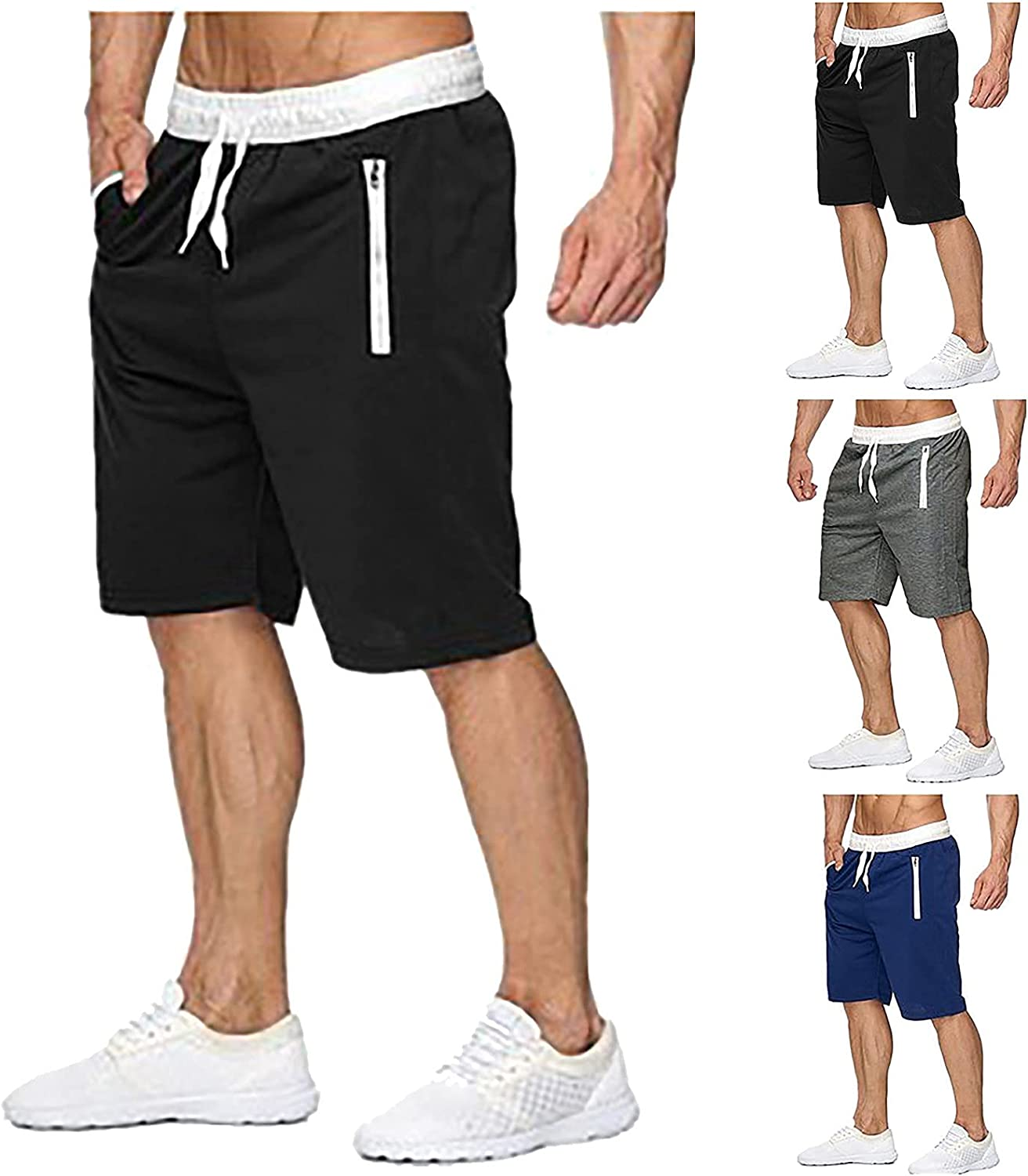 Maryia Mens Summer Solid Casual Holiday Beach Drawstring Shorts Classic Fit Workout Sports Quick Dry Cool Pants