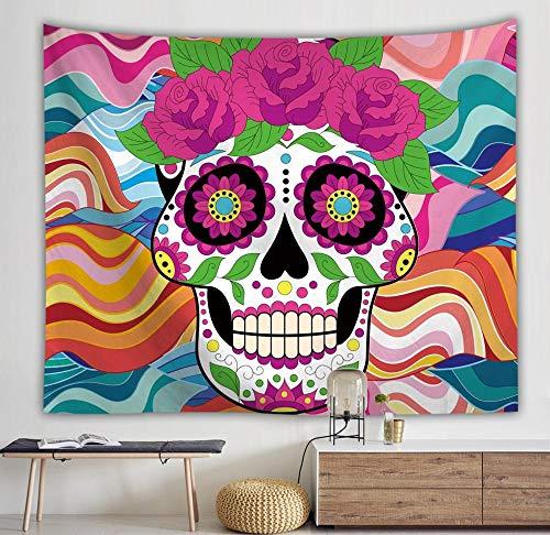 Tapiz de calavera colgante de pared boho tapiz de pared floral decoración mandala colorido tapiz psicodélico cubierta tapiz A2 73x95cm