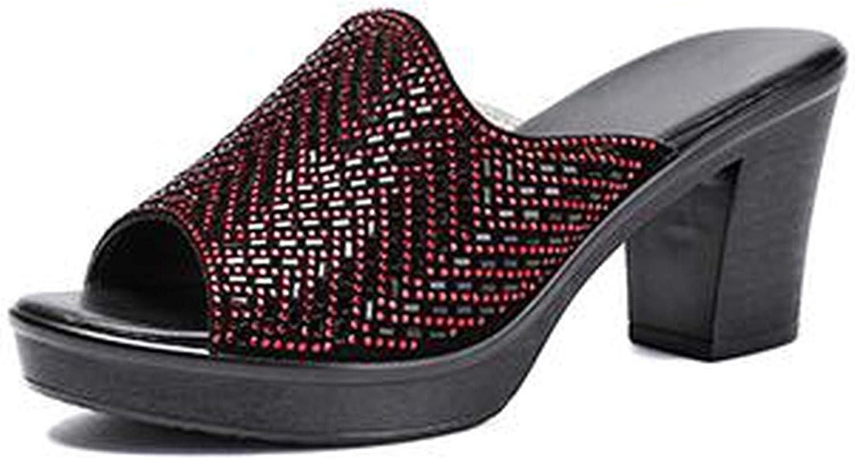 HANBINGPO Women Slipper's 2019 Ladies Summer Genuine Leather High Heels Rhinestone Summer shoes