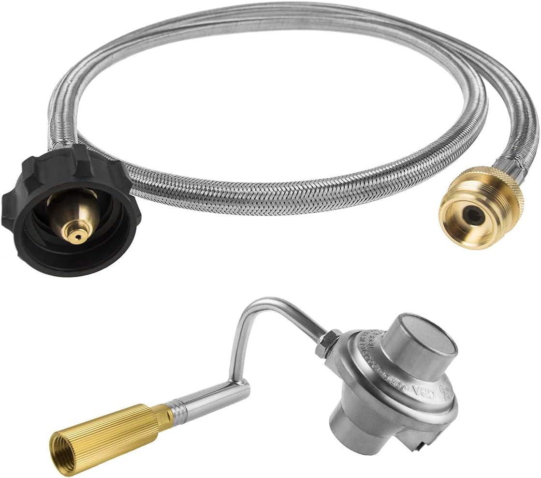 新入荷 流行 AJinTeby 5FT Stainless Steel Braided お求めやすく価格改定 Hose Propane Adapter Gas