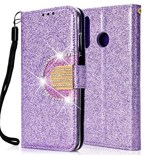 ZCXG Kompatibel mit Handyhülle Huawei P30 Lite Hülle Leder Lila Glitzer Silikon Transparent [Mini Schminkspiegel] Kartenfach Inner Tasche mit Diamant Magnet Schutzhülle Mädchen Flip Cover