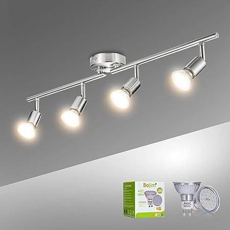 Bojim Plafonnier LED 4 Spots Orientables, 4 X 6W Ampoule GU10, Blanc Chaud, Nickel Mat, Applique Plafond, 230V, Eq.54W, 600lm 82Ra IP20 Non Dimmable
