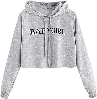 Ghazzi Women Hoodies Sweatshirt Letter Printed Long Sleeve Shirt Pullover Crop Tops Sweaters Blouse