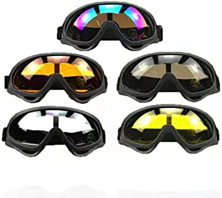 DPLUS Motorcycle Goggles ATV Dirt Bike Off Road Racing MX Goggle Anti-Dust Bendable Eyewear with Padded Soft Foam, Adjustable Strap for Adults` Cycling Motocross Skiing Pack of 5