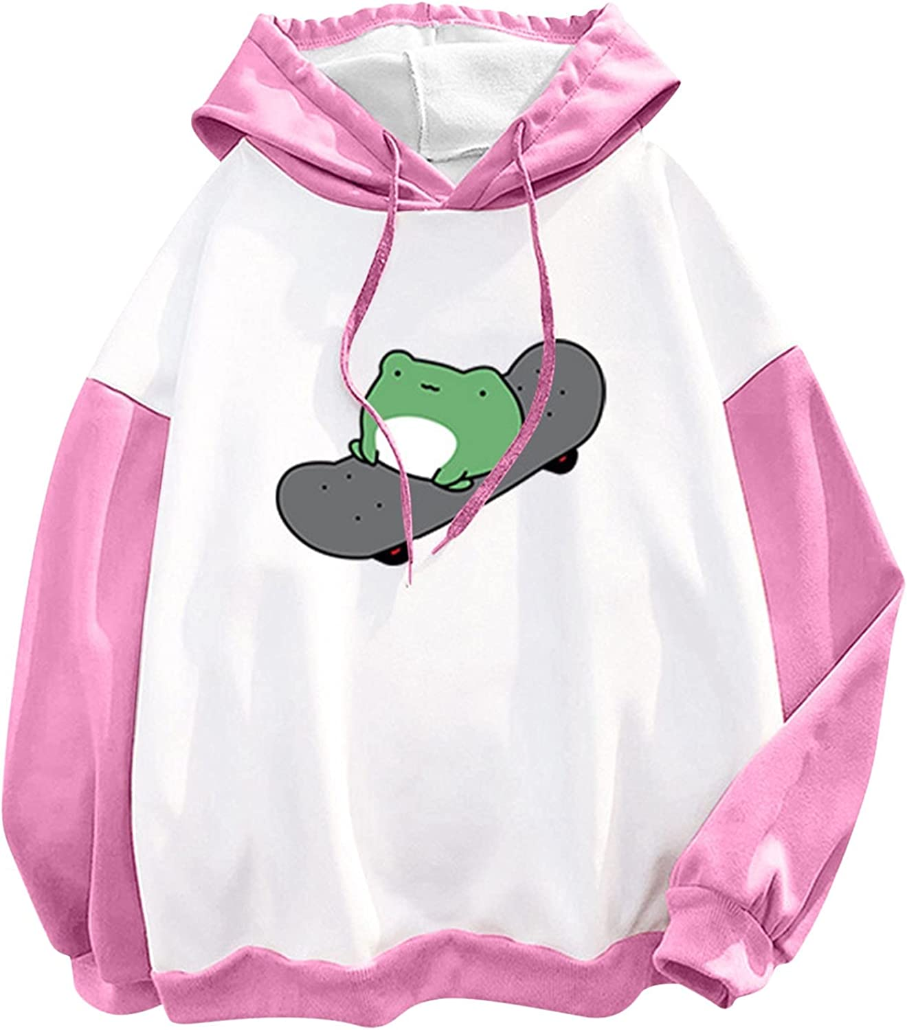 AODONG Hoodies for Women Cute Frog Graphic Loose Long Sleeve Casual Sweatshirts Pullover Tops Blouses