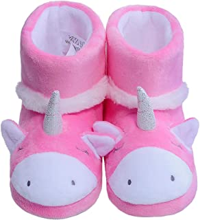 festooning Girls Unicorn Slippers Winter Warm Comfy Plush House Bootie for Toddler Little Kids