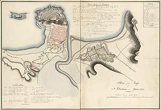 Vintage 1813 Map of Plan of the siege of St. Sebastian in the year 1813. San Sebastián, Spain