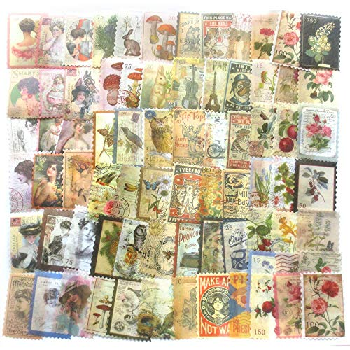 DzdzCrafts Beauty Bird Flower World Time Post Office Vintage Stamp 2' 240pcs Washi Paper Stickers Pack for Scrapbooking Diary Planner Album journals Phone Case Card Making Laptop Journaling