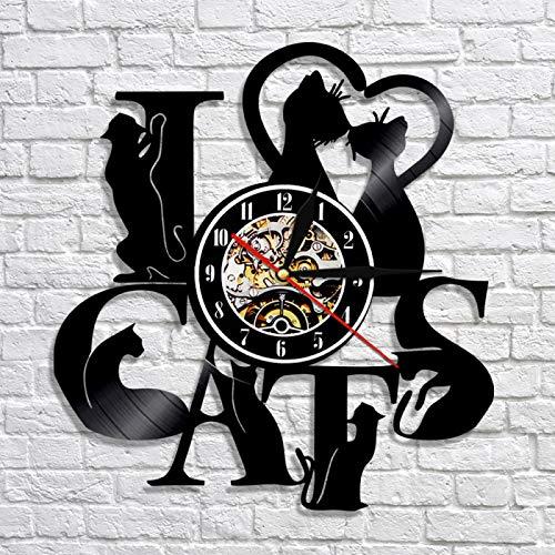 YINU Lovely Cat Reloj de iluminación LED Reloj de Pared Decorativo Animal 3D Wall Vinyl Record Nursery Decor