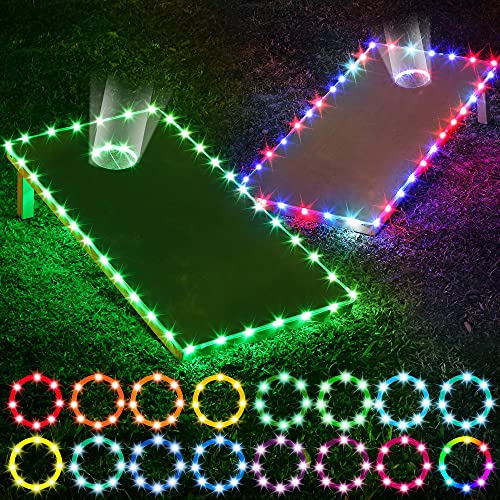 Cornhole Board Lights, 2 Set Corn Hole Edge and Ring LED Lights with 17 Color Change 7 Flashing Mode Multi-Function Remote Control for Family Backyard Cornhole Bean Bag Toss Game at Night (4FT2FT)