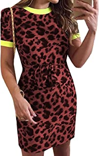 2a27a71ac3e8 Losait Women's Leopard with Belt Contrast Color Short Sleeve Midi Dress