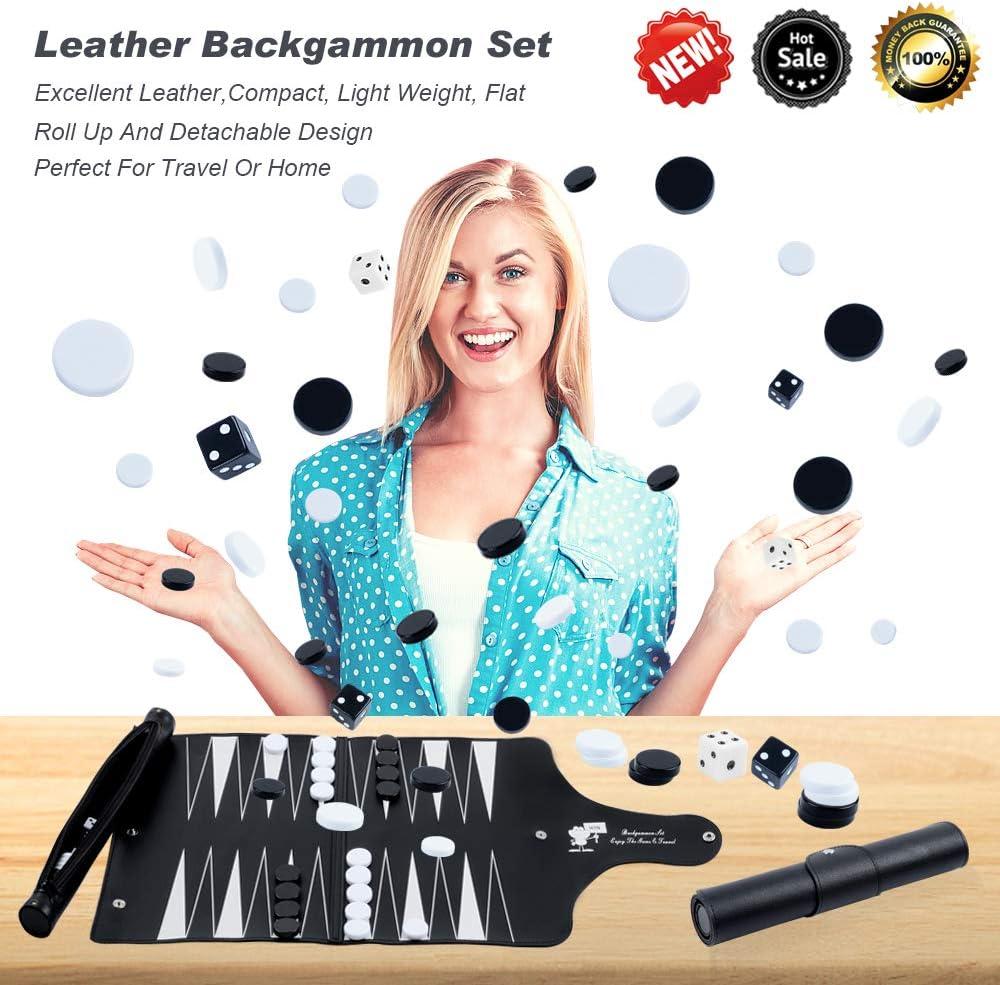 Travel Backgammon Set Detachable Portable Roll Up Las Vegas Mall Ranking TOP3 Design Leather