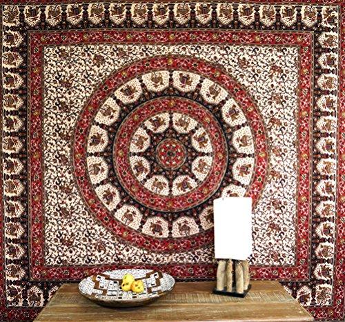 Guru-Shop Indisches Mandala Tuch, Wandtuch, Traditionelle Tagesdecke - Braun/rot, Baumwolle, 230x210 cm, Bettüberwurf, Sofa Überwurf