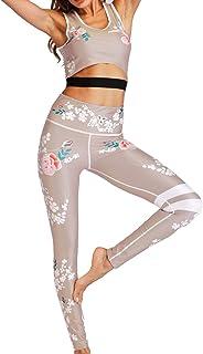 Sexyshine Women's 2 Pieces Floral Print Tracksuit Workout Yoga Legging Crop Top Suit Set Sportswear