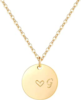 Gold Initial Pendant Necklaces,14K Gold Filled Engraved Disc Personalized Name Dainty Handmade Cute Heart Initial Tiny Pendant Necklaces Jewelry Gift for Women