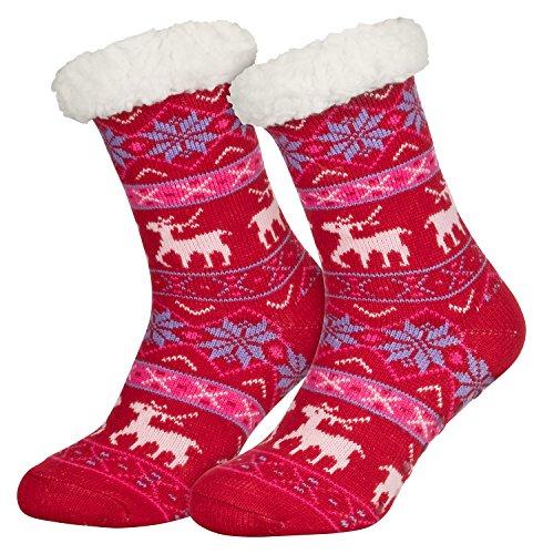 Piarini 1 Paar Kuschelsocken mit ABS Sohle - warme Damen Socken Hüttensocken - Wintersocken mit Anti Rutsch Noppen - Deer-Rot (One-Size)