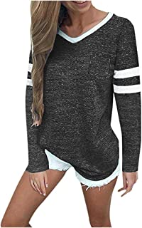 HAPPIShare Women's Fall Tops Casual Cotton V Neck Sport T Shirt Long Sleeve Blouse Pullovers