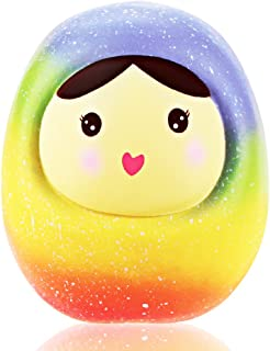 VLAMPO Squishies Jumbo Russian Nesting Doll, Slow Rising Super Soft Squishy Toys Stress Relief Squeeze Toys Scented Gift for Children (Rainbow)