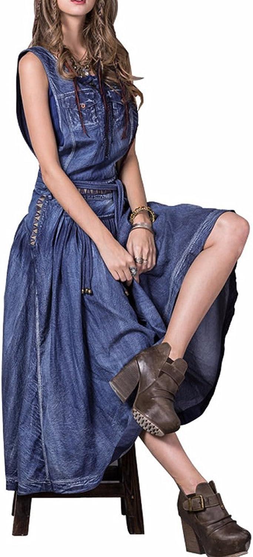 Dissa LHA8205 Women Sleeveless Maxi ALine Denim Summer Dress Party Dress