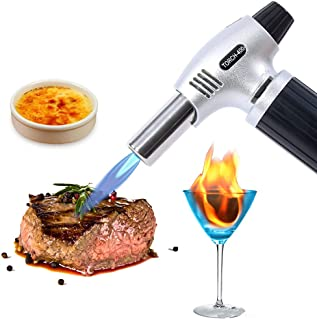 Professional Kitchen Torch, Cooking Torch Lighter, Culinary Blow Torch for Baking & BBQ & Desserts & Cocktail, Automatic Ignition Butane Powered Pro-torch, Butane Gas Not Included and Adjustable Flame