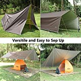 Unigear Zeltplane, Tarp für Hängematte, wasserdicht mit Ösen + 6 Erdnägel+ 6 Seilen, Regenschutz Sonnenschutz für Ourdoor Camping MEHRWEG (Kaffee-300 x 400cm) - 5