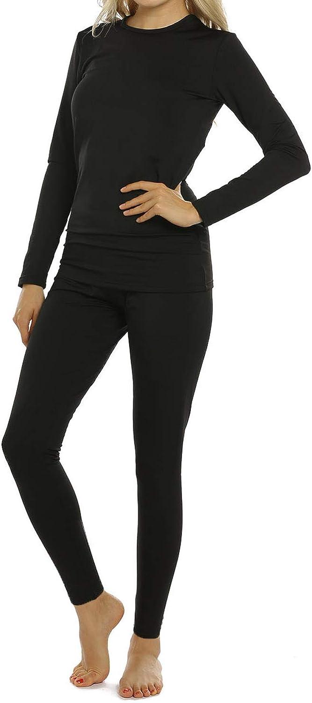 Womens Thermal Underwear Set Long Johns Base Layer Fleece Lined Soft Top Bottom