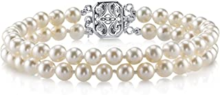 THE PEARL SOURCE Sterling Silver AAAA Quality Round White Double Freshwater Cultured Pearl Bracelet for Women