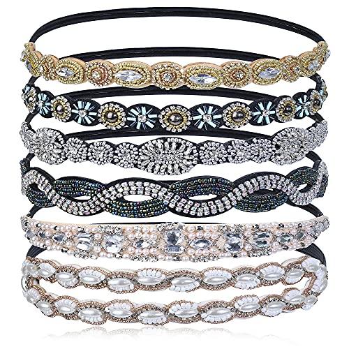 Udalyn 1-6 Pcs Rhinestone Elastic Headbands for Women Girls Beaded Bands Hair Accessories Handmade Jewelry (B: 6 Pcs)