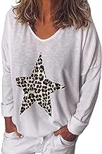 KANGMOON Women's Casual Star Print Round Neck T-Shirt Long Sleeve Tunic Tops Pullover Sweatshirt S-XXL