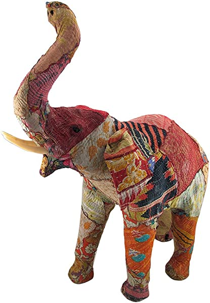 Zeckos Vintage Sari Fabric Covered Paper Mache Elephant Sculpture 28 In Tall