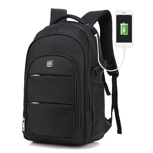 Notebook Rucksack 17 Zoll mit USB Ladeanschluss Wasserdichter Daypacks Unisex Laptop Business Computer Rucksack für Damen Herren Schwarz