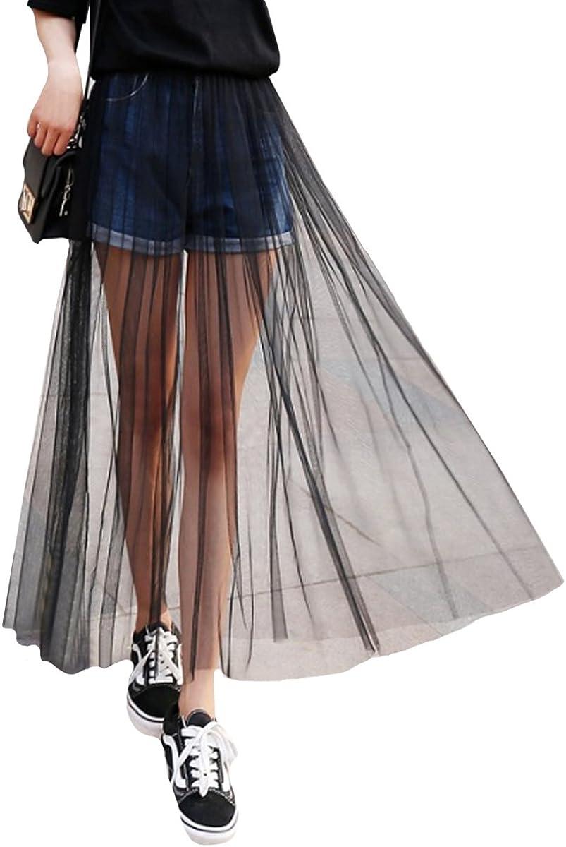 CLARA Women High Waist Mesh Maxi Skirt See-Through Beach Long Tulle Skirt Bodysuit Cover-Up