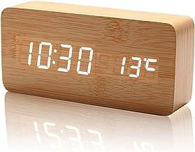 ailiebhaus Medio Madera Mesita de noche reloj despertador digital Naturaleza Decoración Home & Office, BrownWhite, mediano