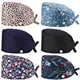 6 Pieces Bouffant Scrub caps Hat Printed Working Cap with Buttons and Sweatband Adjustable Tie Back Hat for Women Men