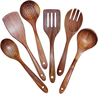 Monland Wooden Utensils Set of 6, Large Kitchen Cooking Utensil for Non Stick Cookware, Natural Teak Wood Spoons Spatula L...