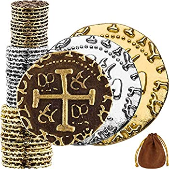 Pirate Coins - 36 Bronze Silver & Gold Treasure Coin Set Metal Replica Spanish Doubloons for Board Games Tokens Cosplay - Realistic Money Imitation Pirate Treasure Chest - M L XL Sizes Mix