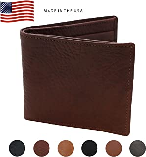 Made in the USA - Genuine Leather Hipster RFID Wallets – Factory Direct - Fits Dollars Euros Pounds - Real Leather Creations