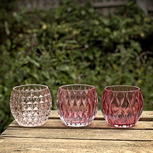 Boltze Shades of Pink Windlicht, Glas Set von 3