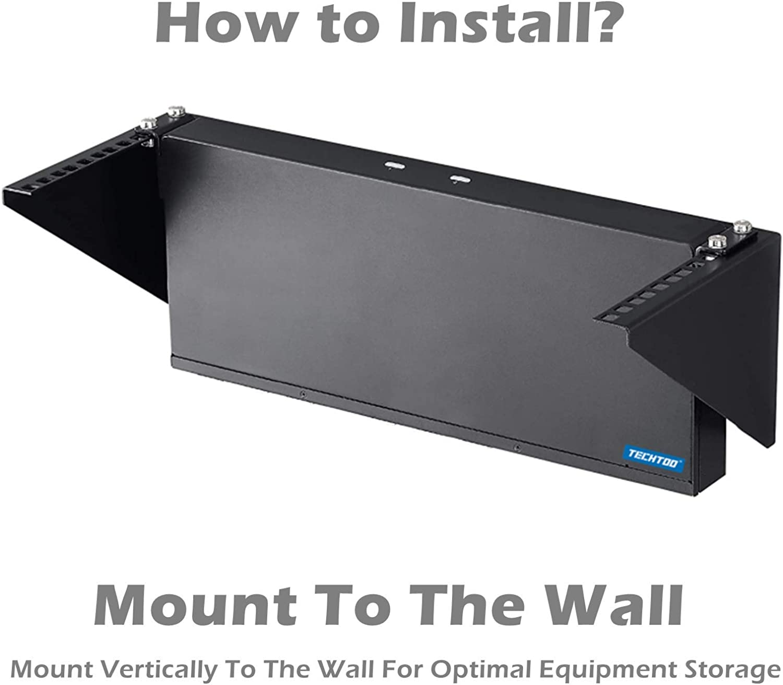 TECHTOO Wall Mount Rack 4U Vertical Rack 19Inch Wall Mountable Server Rack Heavy Duty Network Open Rack (4U)