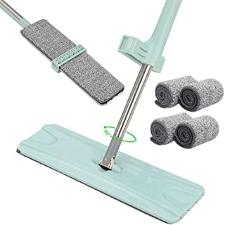 ARTISHION Flat Floor Mop Squeeze Microfiber Flat Dust Mop Self-Wringing Hand Free with 4 Washable Mop Pads 360° Rotation Wet and Dry Use for Home Kitchen Hardwood Floor Cleaning