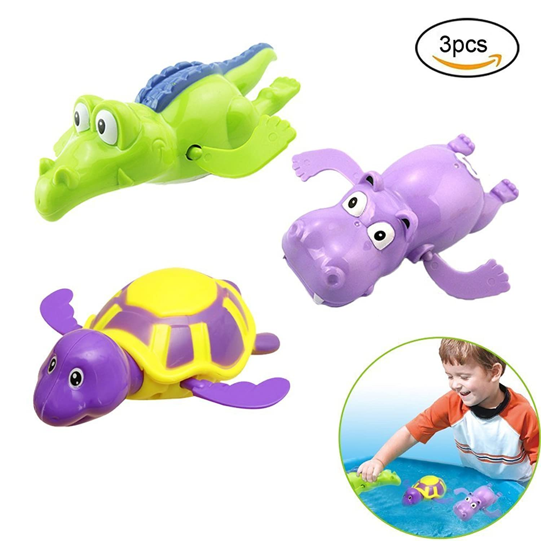 お風呂 おもちゃ 動く 泳ぐ ネジ バネ かめ カバ ワニ おもちゃセット おもしろい 動物 カラフル 大きい 3点入り