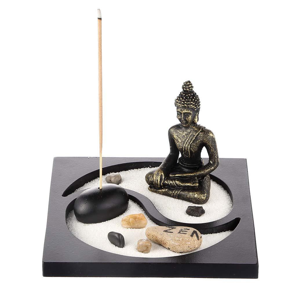 Prime Feng Shui Sand Rocks Zen Garden Buddha Estatua Taiji Yin Yang Mini kit de quemador de incienso para jardín: Amazon.es: Hogar