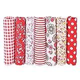 Fdit 7 unids/Set 100% algodón Batiks Tela para Manualidades de Costura Paquetes de Tela para acolchar Bricolaje Telas cuadradas de Retazos Paquetes de artesanía sólida para Manualidades(1#)