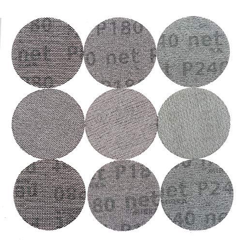 9 hojas de 75 mm de malla libre de polvo discos de lija anti-bloqueo de gancho y bucle redondo abrasivo de papel de lija para decorar el coche, surtido de papel 80, 180, 240